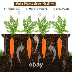 2 Pcs 48.5'' Raised Garden Bed Square Plant Box Outdoor Flower Vegetable Brown