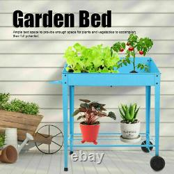 2 Tiers Raised Garden Bed Elevated Planter Box Flower Vegetable Stand Outdoor