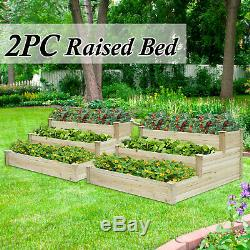 2PC Raised Garden Planter Bed Solid Wood Trapezoid Vegetable lawn Patio Box