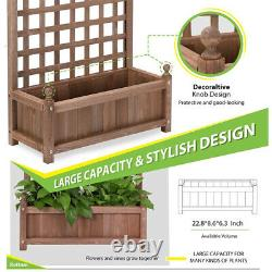 2pcs 48'' Wood Planter Box Weather-resistant Garden Yard Raised Bed with Trellis