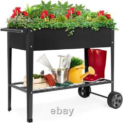 3.5 Ft. X 1.6 Ft. Mobile Metal Raised Garden Bed With Wheels
