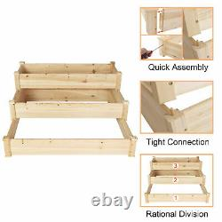 3 Tier Raised Garden Bed Outdoor Wooden Elevated Box Kit Vegetables Flowers Herb