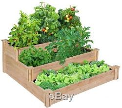 4 Ft. X 4 Ft. X 21 In. 3-Tiered Cedar Raised Garden Bed Square Planter Outdoor