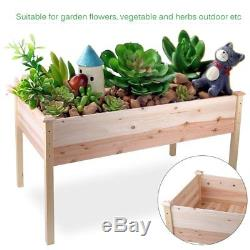 4 PACK Outdoor Patio Wooden Raised Garden Bed Elevated Planter Flower Box Grow B