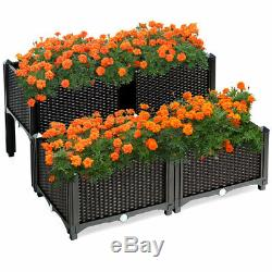 4 Pcs Raised Garden Bed Elevated Flower Vegetable Herb Grow Planter Box Brown