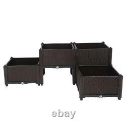 4 Pcs Raised Garden Bed Elevated Flower Vegetable Herb Grow Planter Box Brown US