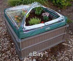 4'X4' Stackable BPA Free Plastic 2-Box Raised Garden Bed Kit 9 Wall Frost Cover