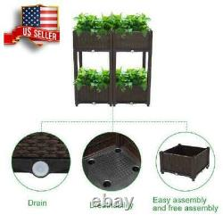 4PC Rectangle Raised Elevated Garden Flower Bed Plant Box Vegetable Planter Herb