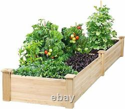 8ft Wooden Raised Garden Bed Planter, No-Bolt Assembly Elevated Flower Bed
