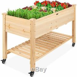 BCP Mobile Raised Garden Bed Elevated Wood Planter with Wheels, Storage Shelf