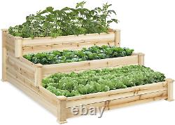 Best Choice Products 3-Tier Wooden Raised Vegetable Garden Bed Planter Kit