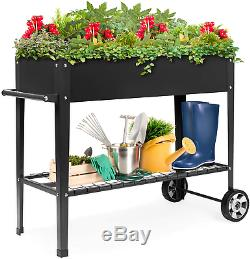Best Choice Products Elevated Mobile Rised Ergonomic Metal Planter Garden Bed fo
