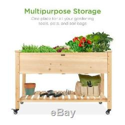 Best Choice Products Raised Garden Bed 48x24x32in Mobile Elevated Wood Planter
