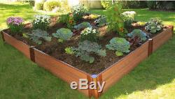 Brown Composite Raised Garden Bed Small Gardening Plot Vegetables Plants Herbs
