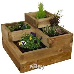 Caledonian Tiered Raised Plant & Flower Bed Pressure Treated Wood Garden Decor