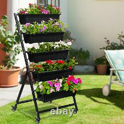 Cerbior Patio Vertical Herb Planter Garden Elevated Raised Bed Vegetable 5 Boxes