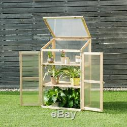 Cold Frame Greenhouse Garden Fir Wood Raised Plant Bed Protection 24 x18x40