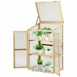 Cold Frame Greenhouse Portable Wooden Raised Planter Bed Garden 24 x18x40