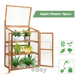 Cold Frame Greenhouse Portable Wooden Raised Planter Bed Protection Home Garden