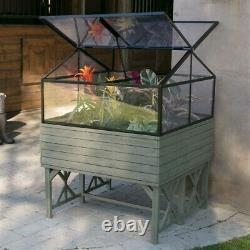 Cold-frame Greenhouse Kit in Driftwood Finish Elevated Raised Bed Garden