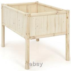 Costway Raised Garden Bed Box Stand 42x30x32 Elevated Wood Planter Patio Yard