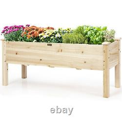 Costway Raised Garden Bed Elevated Planter Box Wood for Vegetable Flower Herb