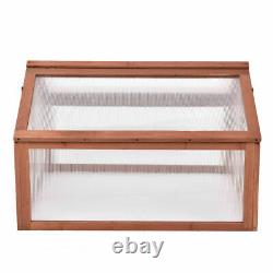 Double Box Garden Wooden Green House Cold Frame Raised Plants Bed Protection New