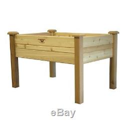 Elevated 2Ft x 4-Ft Cedar Wood Raised Garden Bed Planter Box Unfinished