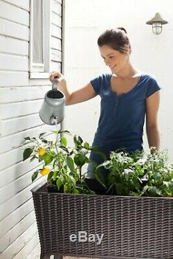 Elevated Garden Raised Bed All-Weather Self-Watering Plastic Brown Resin Planter