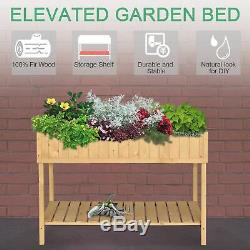 Elevated Natural Garden Plant Stand Outdoor Flower Bed 8 Grid Box with Storage