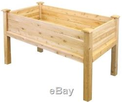 Elevated Raised Garden Bed Wood Wooden Rectangle Container 48 in. L x 24 in. W