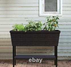 Elevated Resin Box Planter Raised Garden Flower Bed Planter Weather Resistant