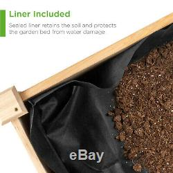 Elevated Wood Planter Garden Bed Box with Stand Backyard Patio Plant Grower