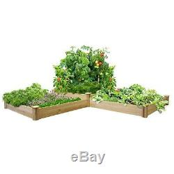 Expandable/Stackable 10.5x144x48 Two Tiers Dovetail Raised Garden Bed Natural