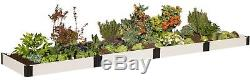 Frame It All 4 ft. X 16 ft. X 8 in. Classic White Composite Raised Garden Bed