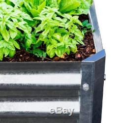 Galvanized Raised Garden Bed Vegetable Flower Planter Elevated Expandable Square