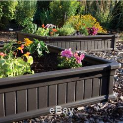 Garden Bed Raised Elevated Planter Vegetable Plant Seeds Flower Frame Box Brown