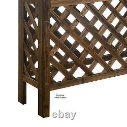 Garden Elevated Planter Bed Wood withRaised Trellis Bottom Patio Flower Herb Stand