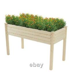 Garden Outdoor Wooden Planter Flower Plant Pot Raised Bed Grow Box Container