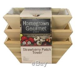 Garden Plant Pot Raised Bed Strawberry Patch Tower Planter Home Decor Wood New