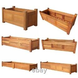 Garden Raised Bed Acacia Wood Planter Box Kit Vegetables Outdoor Plant Herbs