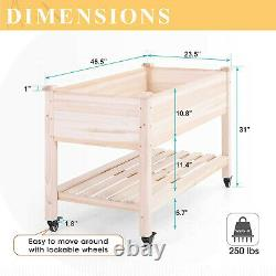 Garden Raised Bed Outdoor Elevated Solid Wooden Planter Box with Wheels Shelf