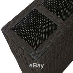 Garden Raised Bed with 4 Pots Poly Rattan Black