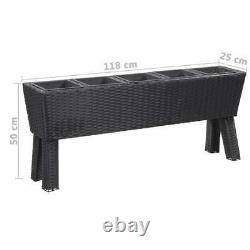 Garden Raised Bed with Legs and 5 Pots Poly Rattan Black Plants Growing Bed