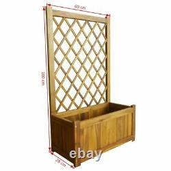 Garden Raised Bed with Trellis Solid Acacia Wood Outdoor Flower Yard Planter Box