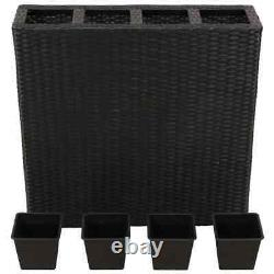 Garden Raised Planter Bed with 4 Pots Box Poly Rattan Black Outdoor Space