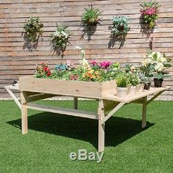 Giantex Garden Raised Bed Wood Flower Elevated Gardening Planter with 2 Side Pl