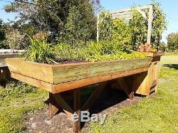 HEAVY DUTY Elevated Raised Garden Bed Lifetime Natural Wood 4'x8' HDPE Liner