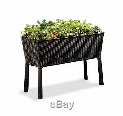 Keter Easy Grow 31.7 Gal Raised Garden Bed Self Watering Planter Box Brown New