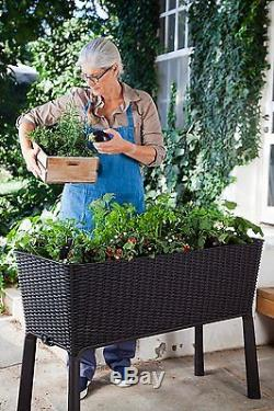 Keter Easy Grow Patio Garden Flower Plant Planter Raised Elevated Garden Bed